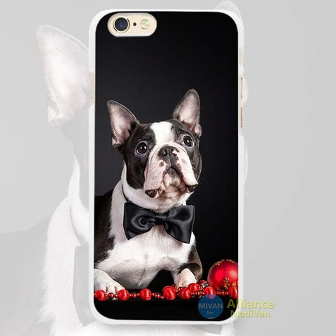 Boston Terrier Laying Black Bow Tie Phone Case for iPhone