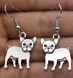 Vintage Hippie French Bulldog Fish Hook Earrings