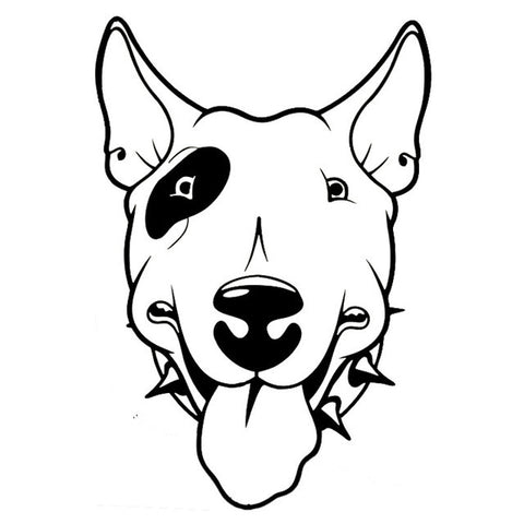 "Happy Bull Terrier Head Eye Patch Spike Collar Sticker (6.4"" x 4.4"")"