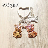 Pit Bull Polish Outline Head Heart Keychain