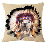 English Bulldog In Costume Multicolor Pillowcase