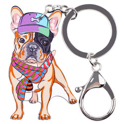 Cartoon Colorful French Bulldog Snap Hook Keychain