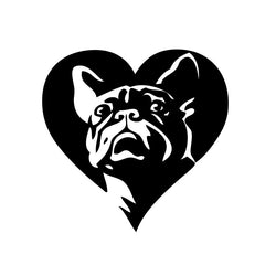 "French Bulldog Hero Pose In Heart Sticker (5.1"" x 5"")"