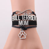 Love Bull Terrier Mom Paw Charm Rope Bracelet
