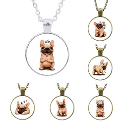 Happy Animated French Bulldog Round Pendant Necklace