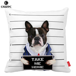 French Bull Take Me Home Mugshot Pillowcase