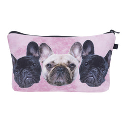 Triple French Bulldog Pink Makeup/Pencil Bag