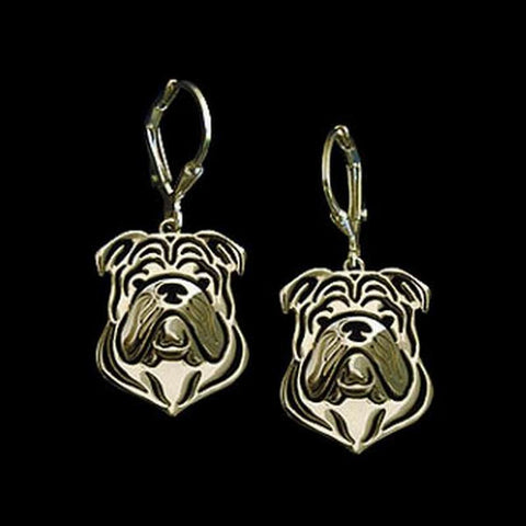 English Bulldog Head Drop Earrings