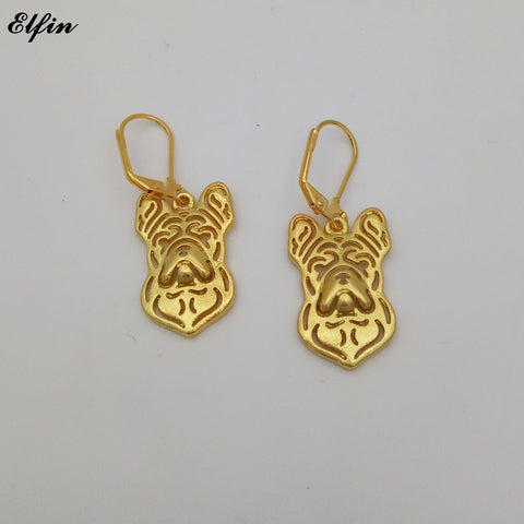 French Bulldog Head Drop Earrings