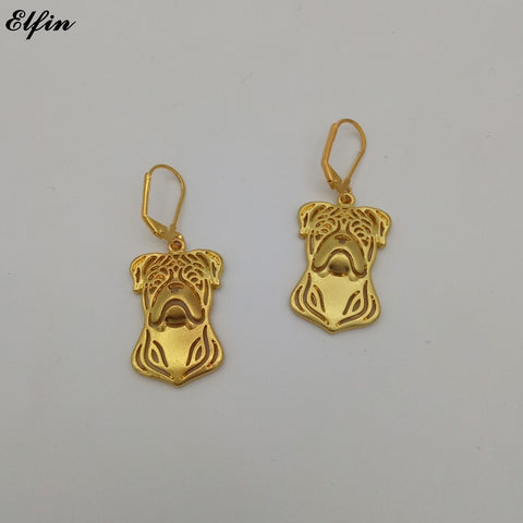 American Bulldog Head Drop Earrings