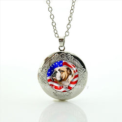 USA English Bulldog Locket Necklace