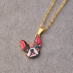 Colorful French Bulldog Pendant Necklace