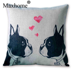 Boston Terriers In Love Pink Heart Pillowcase