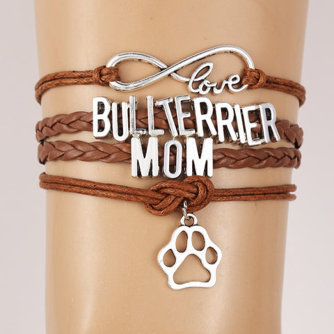 Love Bull Terrier Mom Paw Braided Rope Bracelet