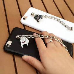 English Bulldog Metal Hand Chain Phone Case for iPhone