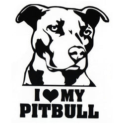 I Love My Pitbull Big Head Ears Hanging Large Sticker