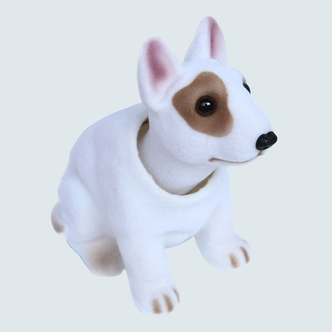 Bull Terrier Brown Eye Patch Shaking Bobble Head