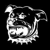"Mean Growling Pitbull Spike Collar Sticker (5.6"" x 5.3"")"