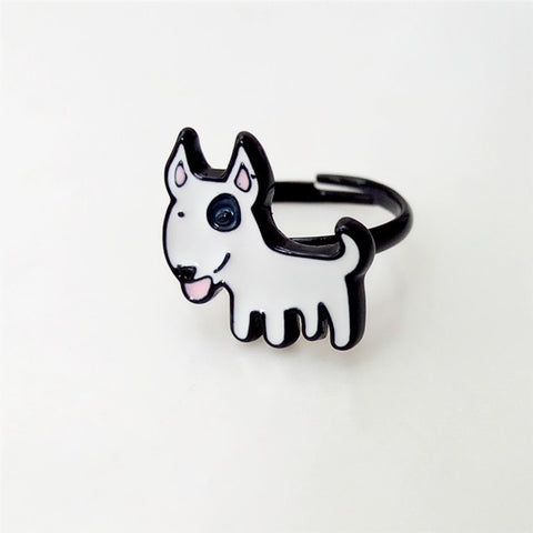Happy Cute Bull Terrier Puppy Fashion Ring