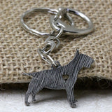 Bull Terrier Mini Heart Wooden Pattern Keychain
