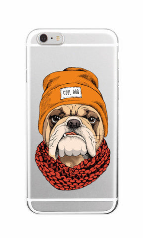 Cool English Bulldog Beanie Scarf Transparent Phone Case for iPhone, Galaxy