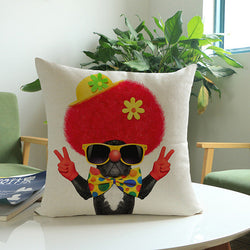 French Bulldog Afro Clown Peace Sign Pillowcase/Throw Pillow