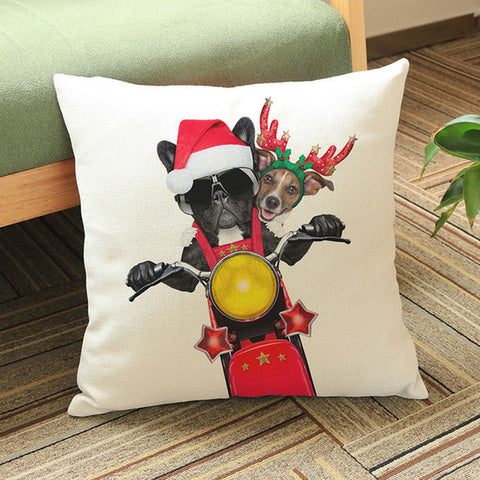 French Bulldog Riding Motorcycle Christmas Pillowcase/Throw Pillow