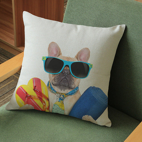 Tan French Bulldog Going To Beach Sandal Shades Pillowcase/Throw Pillow