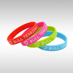 Love Bull Terriers Silicone Wristband Bracelet