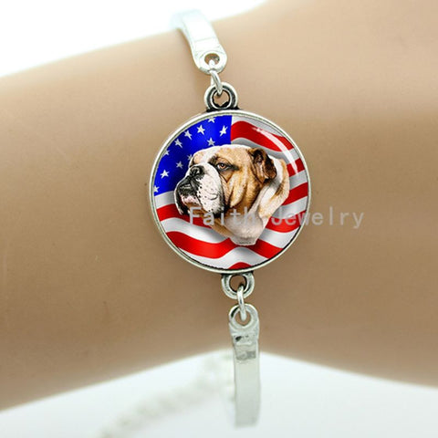 USA English Bulldog Charm Link Bracelet