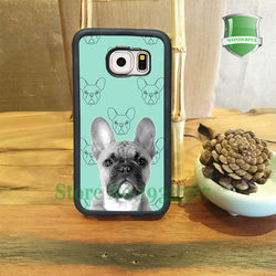 Grayscale French Bulldog Teal Background Pattern Phone Case for Galaxy