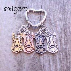 Bull Terrier Head Outline Heart Keychain