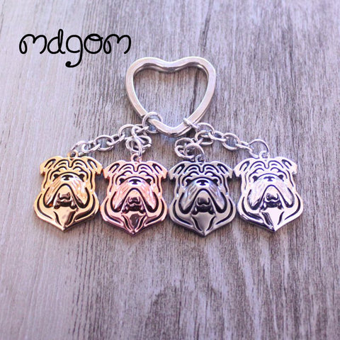 English Bulldog Polish Outline Head Heart Keychain