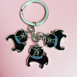 Short Fat English Bulldog 2 Color Keychain
