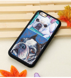 French Bulldog Boston Terrier Color Painting Phone Case for iPhone