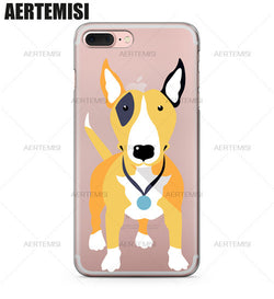 Tan Black Patch Bull Terrier Cartoon Phone Case for iPhone