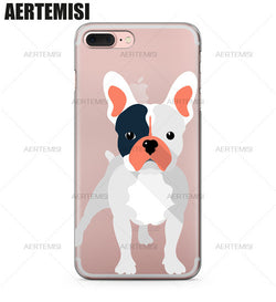 French Bulldog Vector Half Black And Gray Transparent Phone Case for iPhone