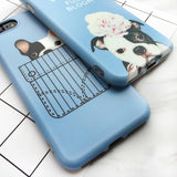 Baby Blue French English Bulldog Puppy Phone Case for iPhone