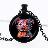 Cartoon Pit Bull Round Pendant Necklace
