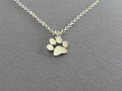 Small Dog Paw Print Pendant Necklace