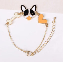 French Bulldog Happy Face Heart Bracelet
