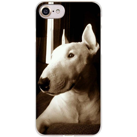 Dark Filter Bull Terrier Looking Away Portrait Phone Case for iPhone