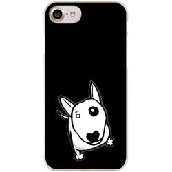 Simple Bull Terrier Drawing Looking Up Black Phone Case for iPhone