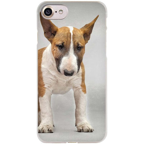 Light Brindle White Bull Terrier Puppy Looking Down Phone Case for iPhone
