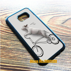 Bull Terrier Riding A Bicycle Phone Case for Samsung Galaxy
