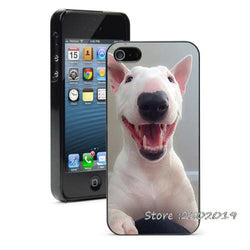 Happy Funny Bull Terrier Phone Case for iPhone, Galaxy