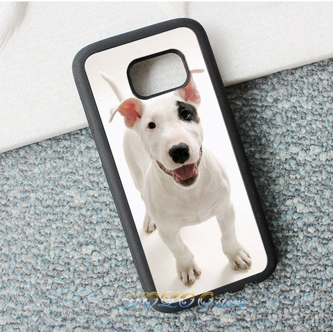 Happy Smiling Bull Terrier Black Patch Phone Case for Galaxy