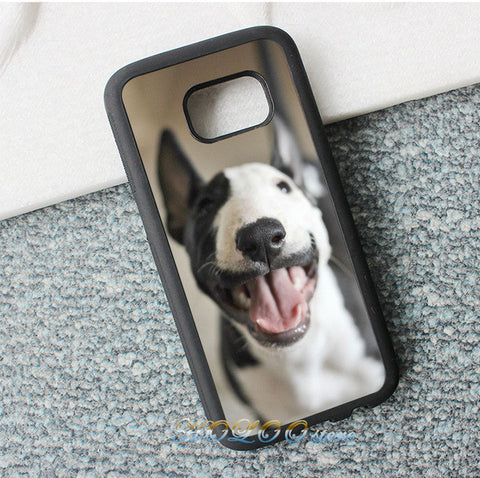Happy Black Half White Bull Terrier Phone Case for Galaxy