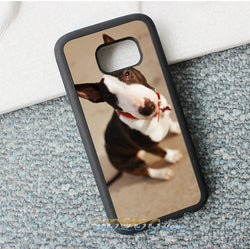 Black White Bull Terrier Long Ears Sitting Phone Case for Galaxy