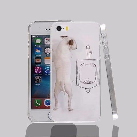 Bull Terrier Peeing On Side Of Stall Phone Case for iPhone
